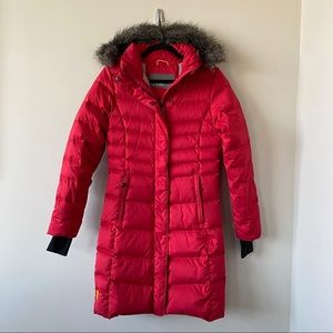 LOLE Katie Down Red Puffer Faux Fur Hood Jacket